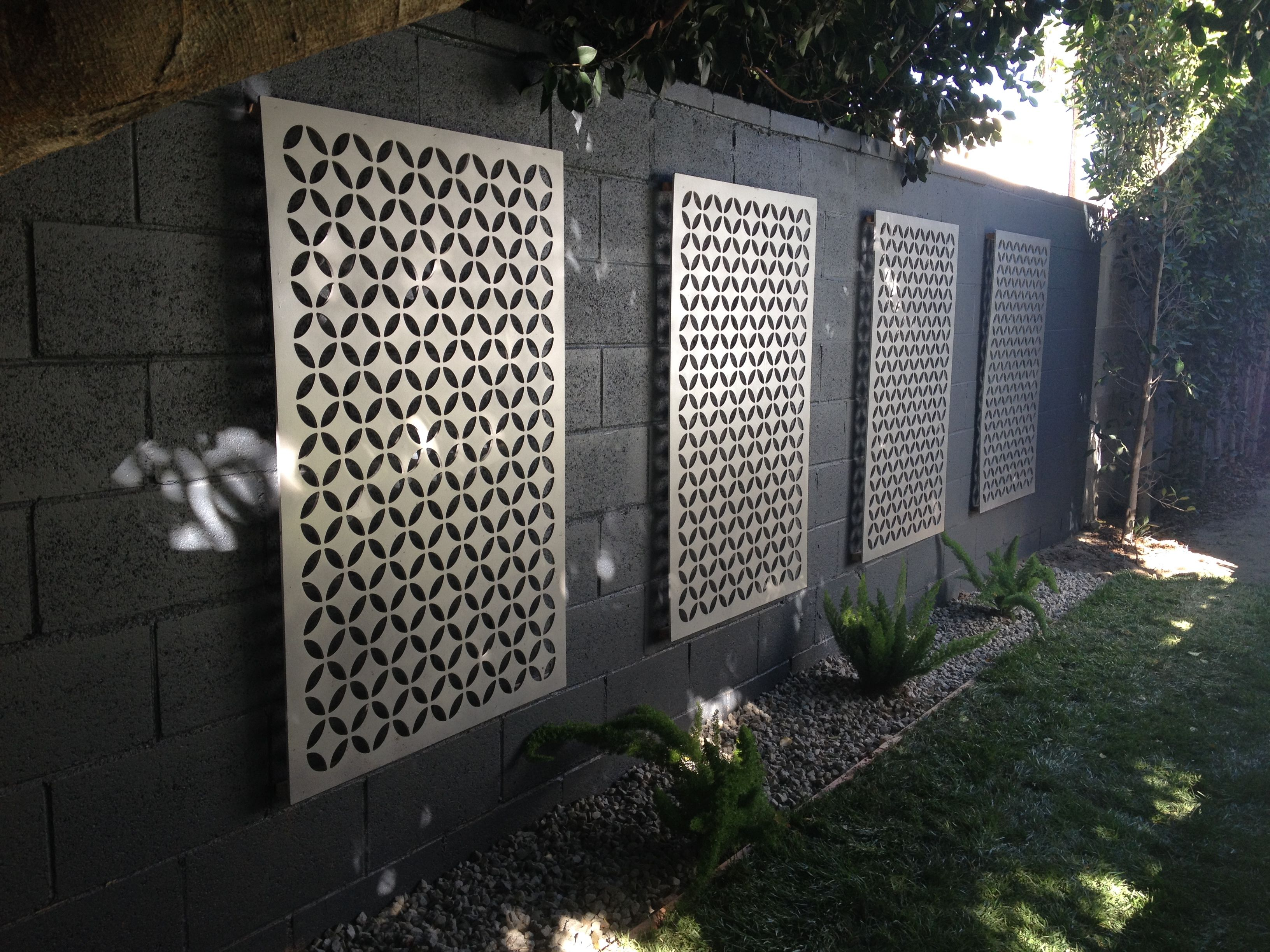 Easy Way To Dress Up A Cmu Block Wall Use Metal Or Composite Decorative Sheets 35 B Cinder Block Walls Cinder Block Garden Wall Decorative Concrete Blocks