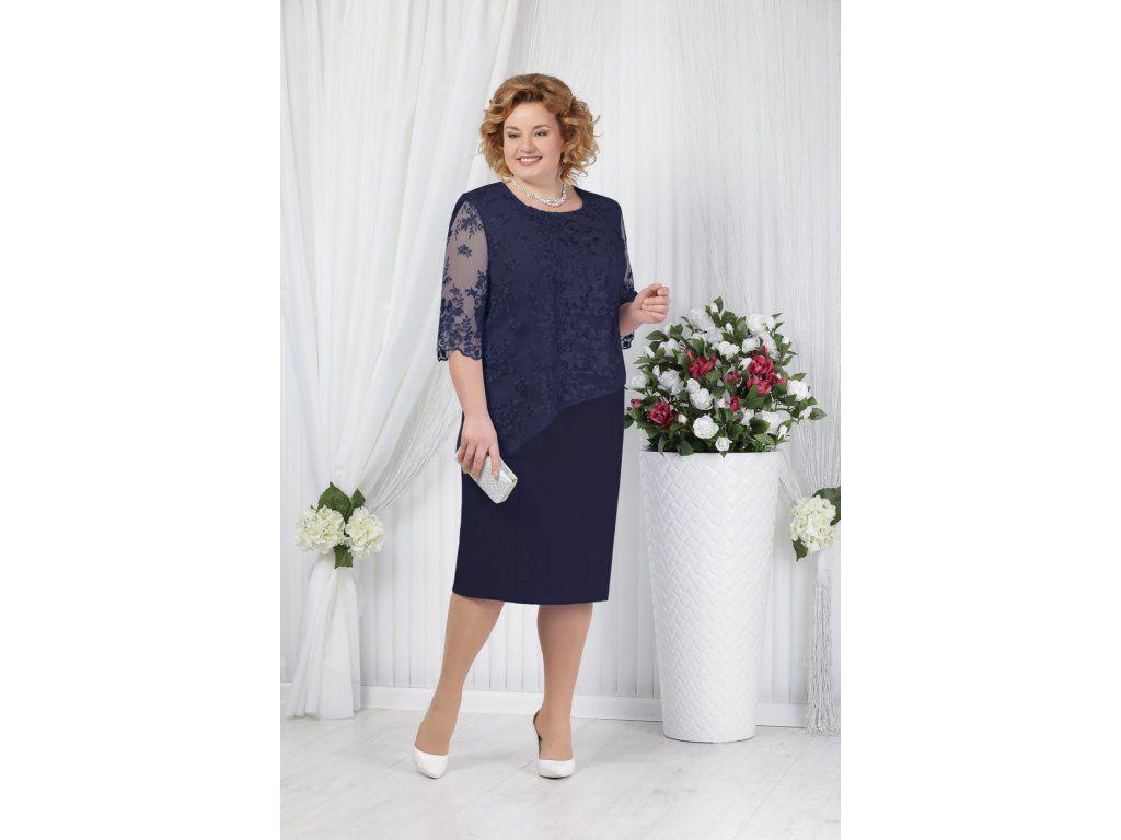 Luxusní společenské šaty pro plnoštíhlé Pietrina tmavě modré. Společenské  šaty pro plnoštíhlé 64e71d3c80