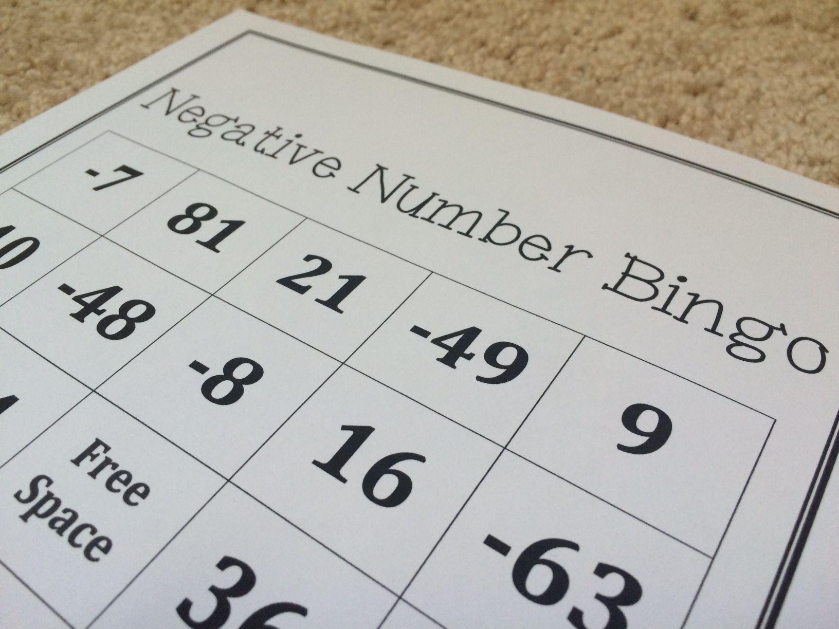 Negative Number Multiplication Bingo
