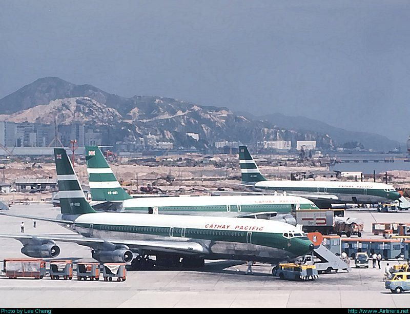 Clearly Showing The Massive Expansion Underway In The Background The Three Cathay B707s Were From Closest Vr H Cathay Pacific History Of Hong Kong Air Photo