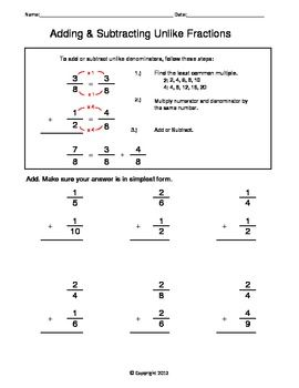 fraction unit  adding and subtracting unlike fractions worksheet  fraction unit  adding and subtracting unlike fractions worksheet