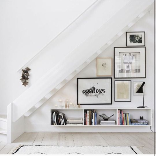 Cute gallery wall tucked under the stairs. No room for a gallery wall? No more excuses.  @hot_haus