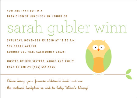 Baby shower invitation - asking for childrens books as gifts