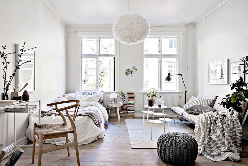 bjurfors cosy apartment 34 square meters living room bedroom study makeahome.nl