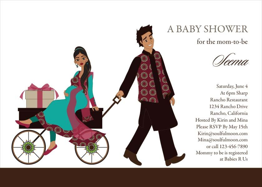 Wagon Diva Indian Baby Shower Invitations By Soulfulmoon