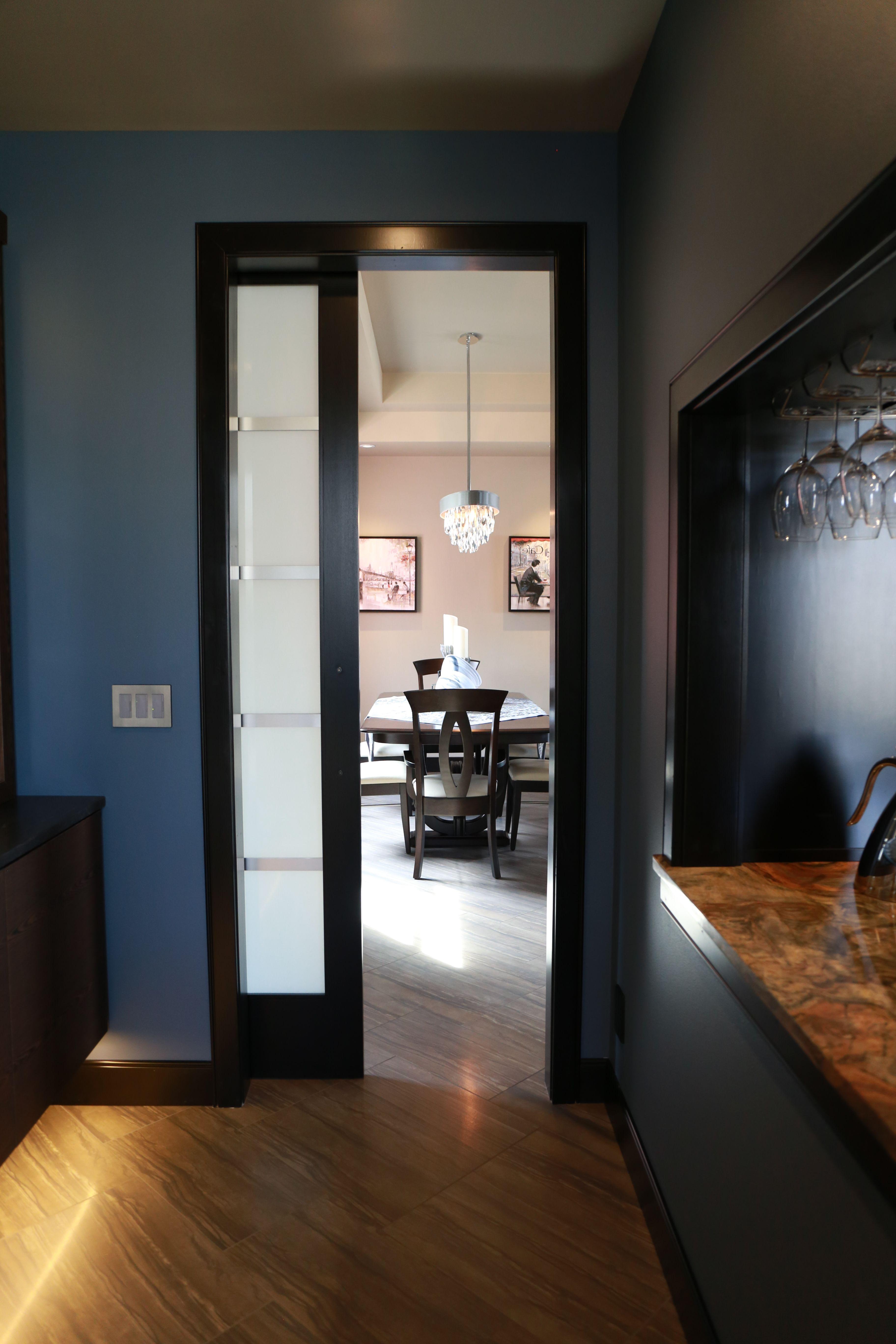 Pocket Doors - A Contemporary Pocket Door Between Butlers Pantry