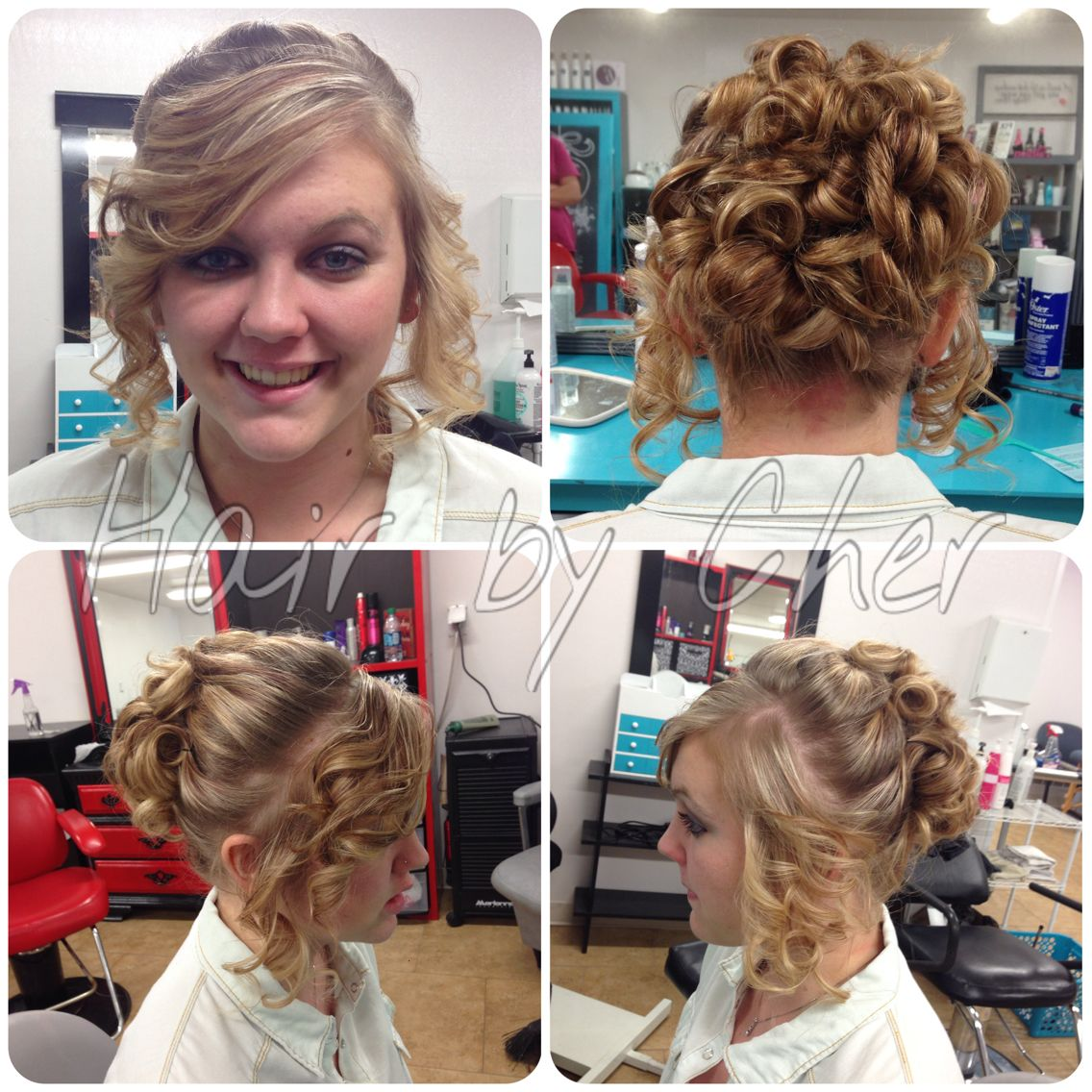 prom hair up-do. beautiful blonde hair pulled back in pin
