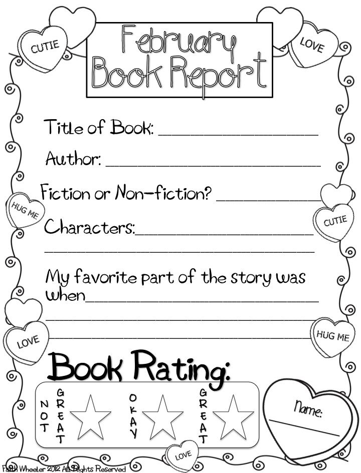 February Book Report Freebie  Enjoy  First Grade Friends