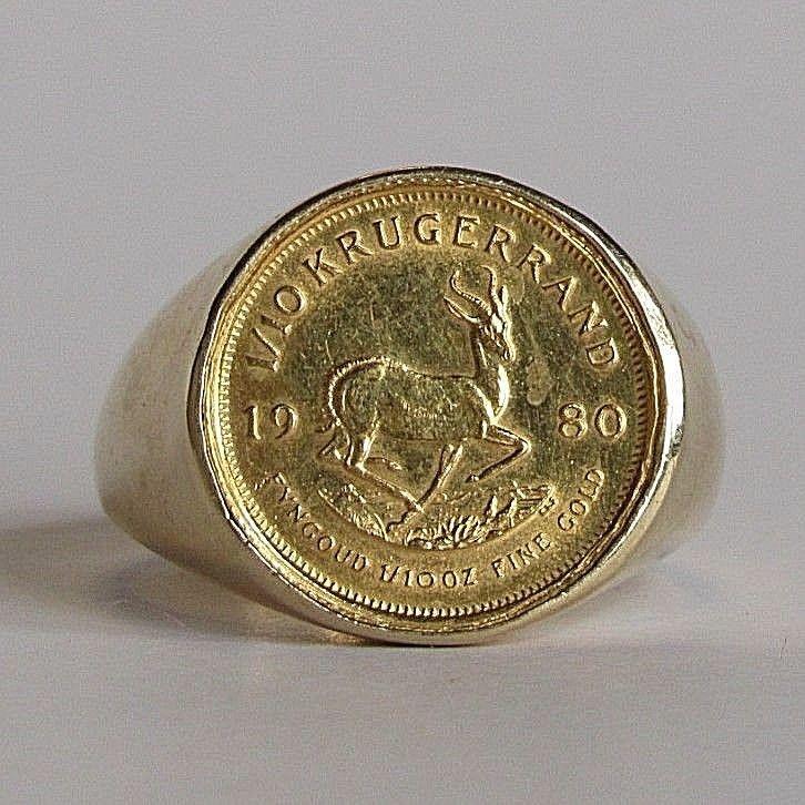 Men S 22k 1 10 Oz 1980 South Africian Krugerrand Gold Coin 14k Ring Size 10 Size 10 Rings Gold Coins Ring Size