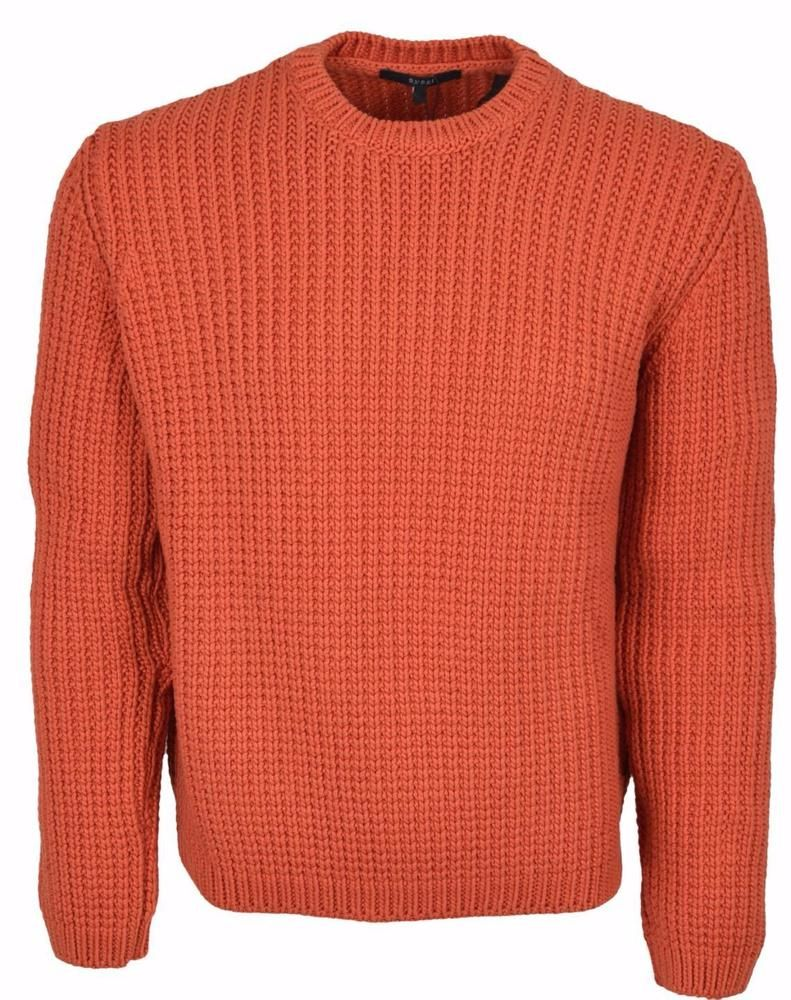 New Gucci Men's $1,050 Heavy Orange Ribbed Tab Logo Cotton Sweater ...