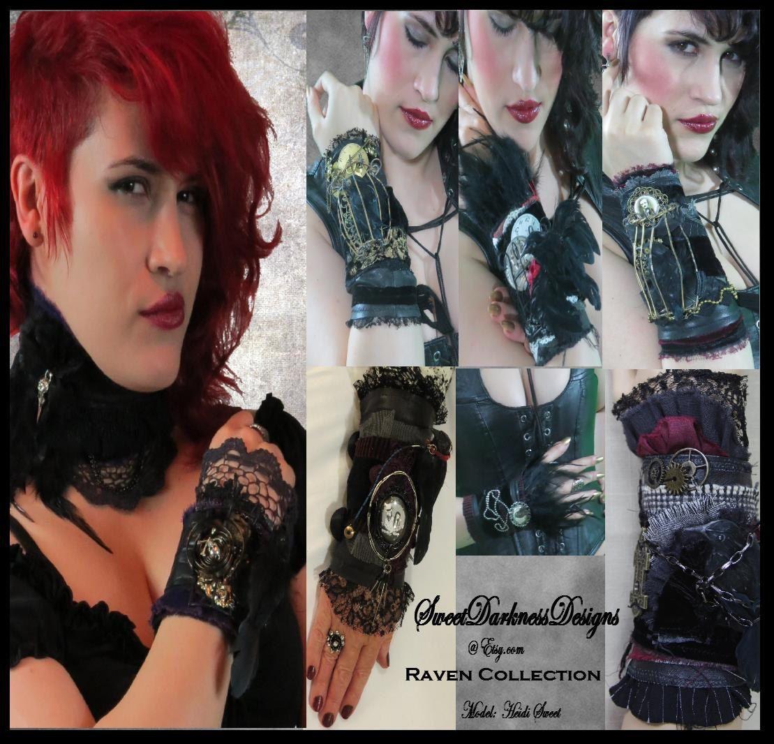 Gothic wrist cuff d raven steampunk cuff goth cuff raven cage black