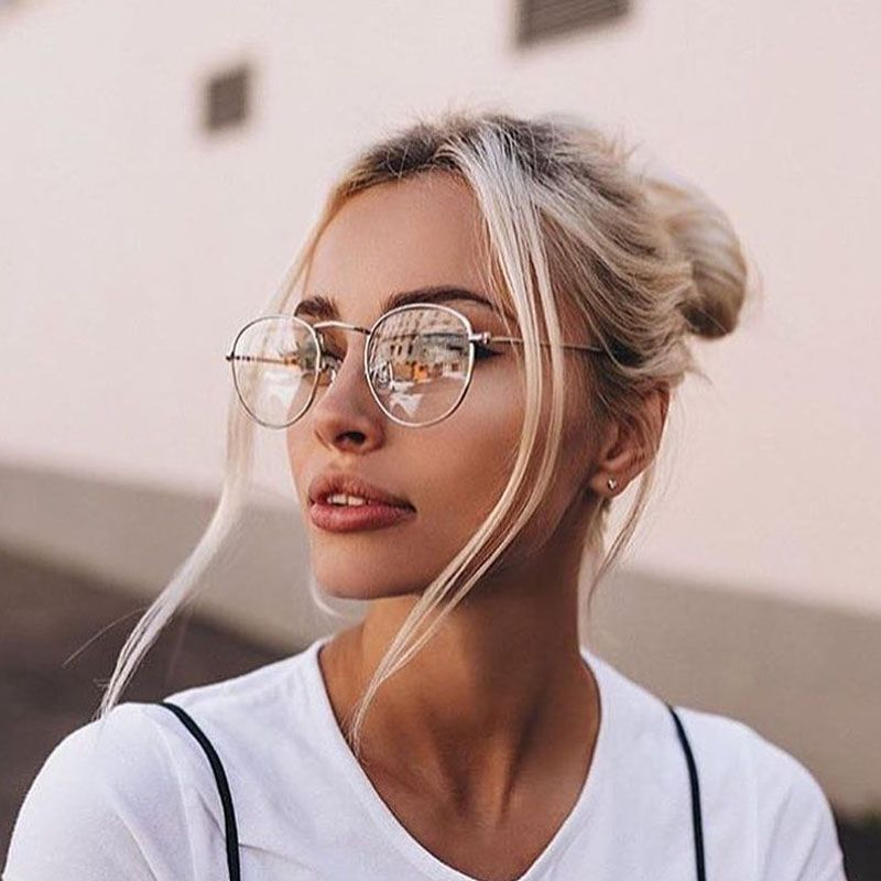 334b6d9666 Round frame glasses vintage woman glasses frame classic eyeglasses round  frames women s glasses  frames  eyewear  accessories  solid  alloy  women