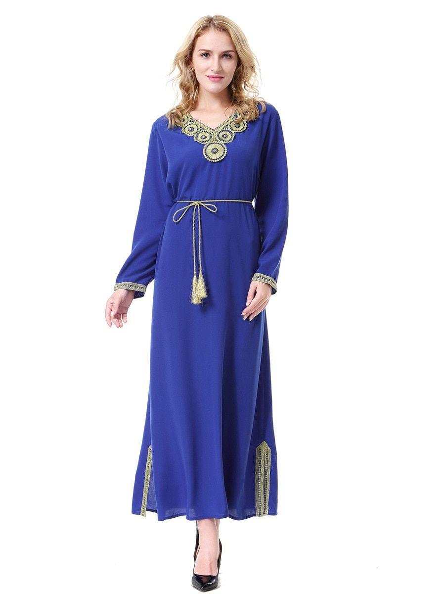 938cceb11e  Muslim Robe  Arab  Middle  East  Dubai  Saudi  Malaysia  Women  Long  Dress  Lace  Embroidery Sashes  Winter  Clothes 2018 Uae Lady Vestidos