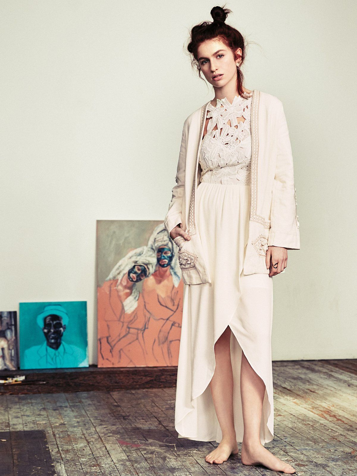 Melody maxi dress high low skirt lace applique and ethereal