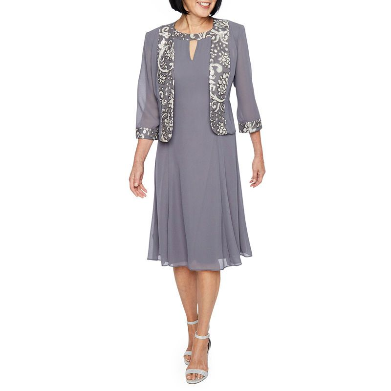 526d91d9c72 Maya Brooke 3 4 Sleeve Embroidered Jacket Dress
