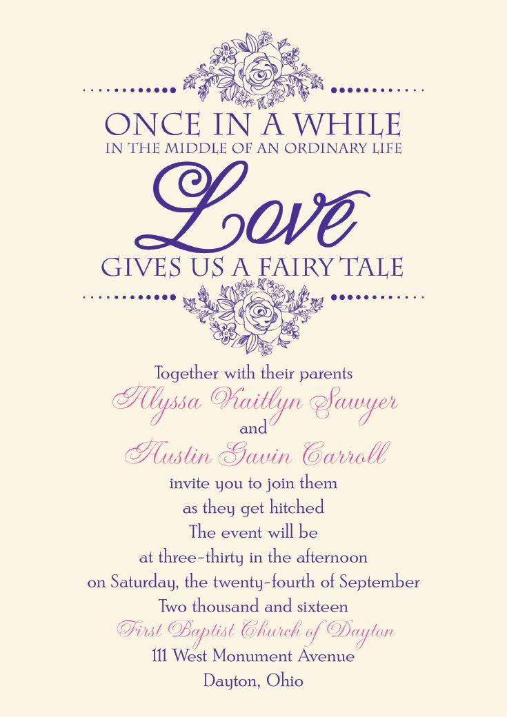 Fairy tale love invitation themed weddings dawn and middle fairy tale love invitation sciox Images