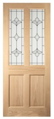 Ledbury 2 Light Glazed Oak Veneer External Door (H)1981 (W) & Ledbury 2 Light Glazed Oak Veneer External Door (H)1981 (W)838 (D ...