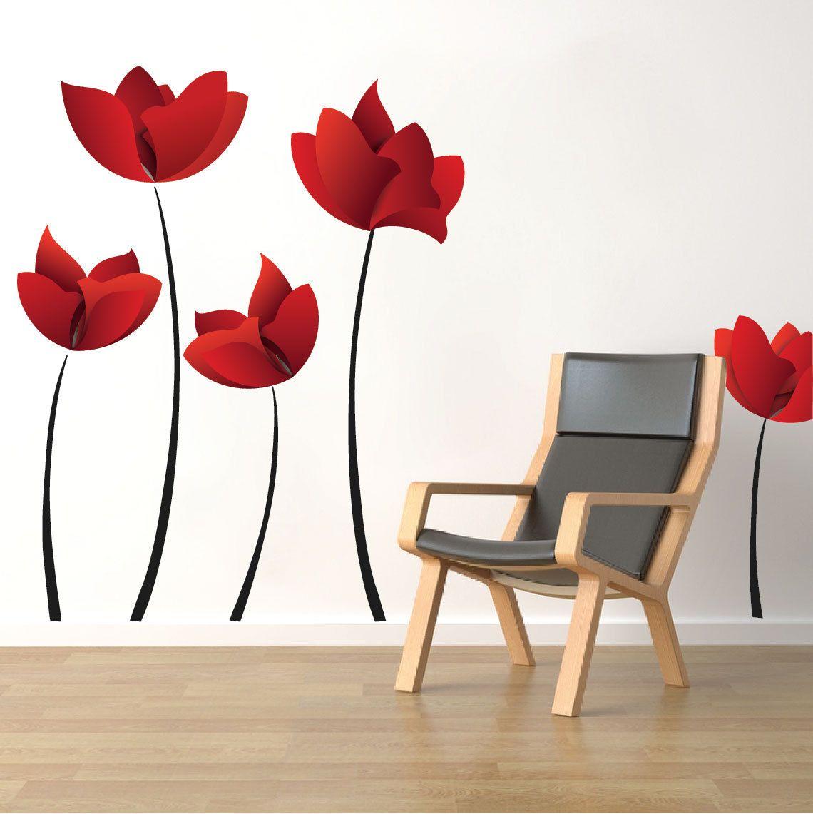 Large Flower Wall Decals Red Flower Wall Murals, Floral Wall Designs,  Reusable Flower Vinyl Part 47