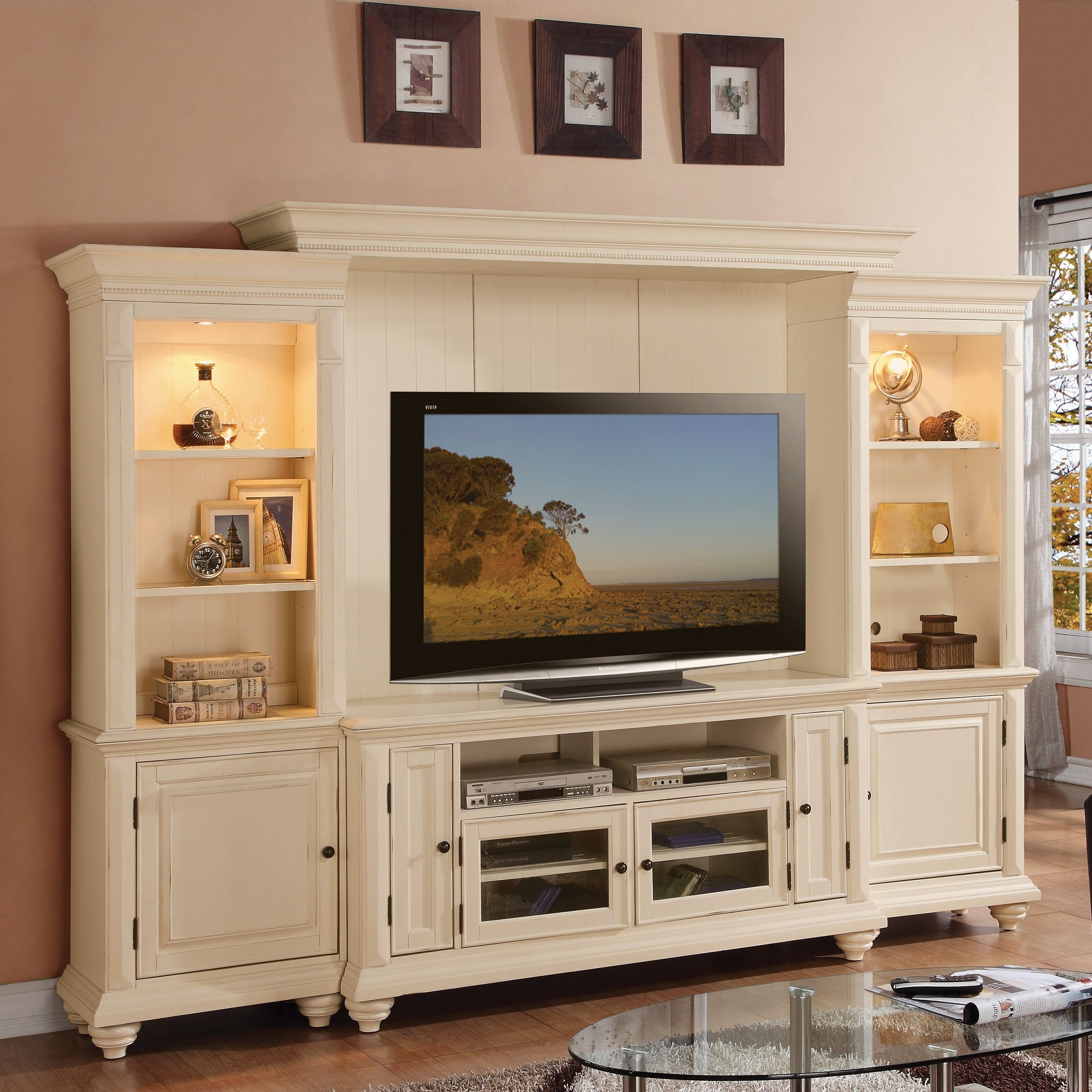 Home Entertainment Spaces: Addison Palladian White Home Entertainment Center