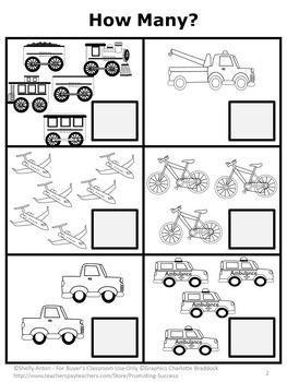free counting worksheet transportation theme preschool math worksheet kindergarten freebies. Black Bedroom Furniture Sets. Home Design Ideas
