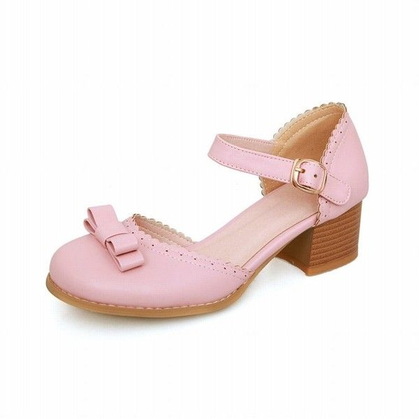 a5a2752067d6 Carolbar Chic Women s Buckle Bows Sweet Cute Barbie Lolita Style... ❤ liked  on Polyvore featuring shoes
