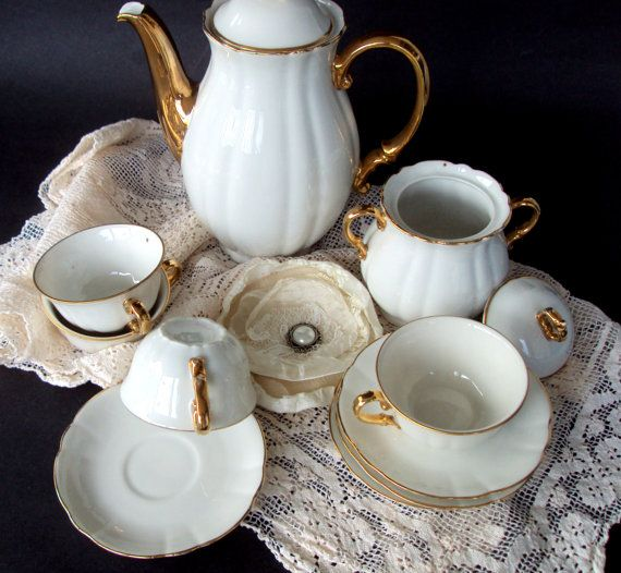 Lovely Vintage Verbano Porcellana Di Laveno, 1940s Demitasse Set, 12 Pieces,Dining  Serving,