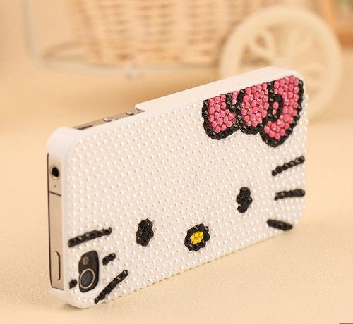 Cute 3D Bling Crystal Pearl Hello Kitty Face Case Cover Skin for iPhone 5 | eBay