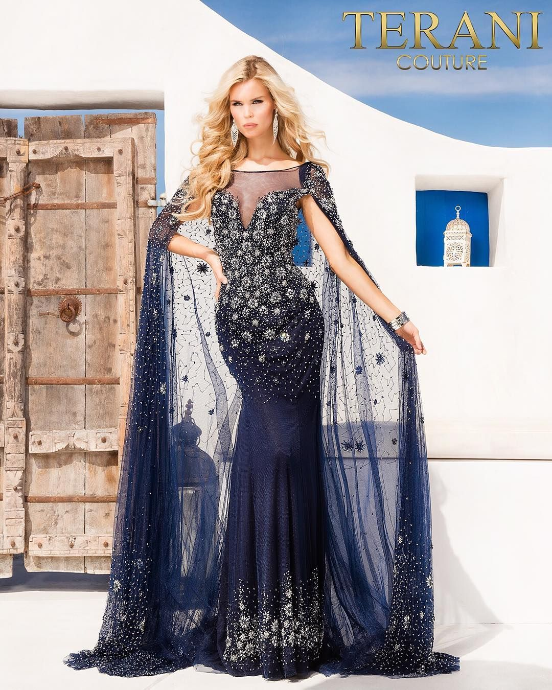 88db7fef91a Make an alarming entrance in this Starry Night Beaded Evening Gown by  Terani Couture. This one of a kind dress features an illusion bateau  neckline