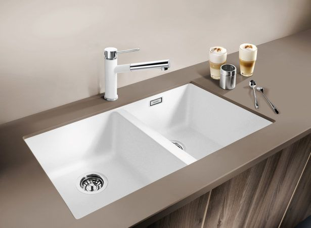 Kitchen White Porcelain Undermount Sink Double Bowl Stainless