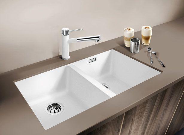 Download Wallpaper White Double Bowl Drop In Kitchen Sink