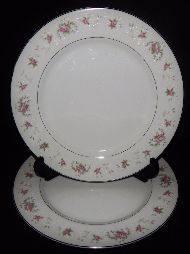 2 Royal Crown China Japan Dinner Plates Pink Floral Flower Silver