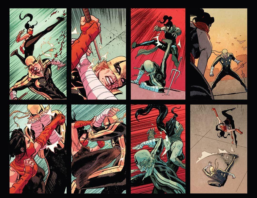 Elektra V Iron Fist Defenders Heroesforhire Ironfist Dannyrand Immortalironfist Elektra Elektranatchios Masterassa Comics Comic Frame Iron Fist Marvel