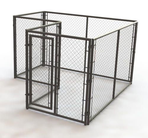 10 X 6 X 10 Heavy Duty L Shaped Powder Coated Kennel At Menards Dog Kennel Outdoor Cat Fence Kennel
