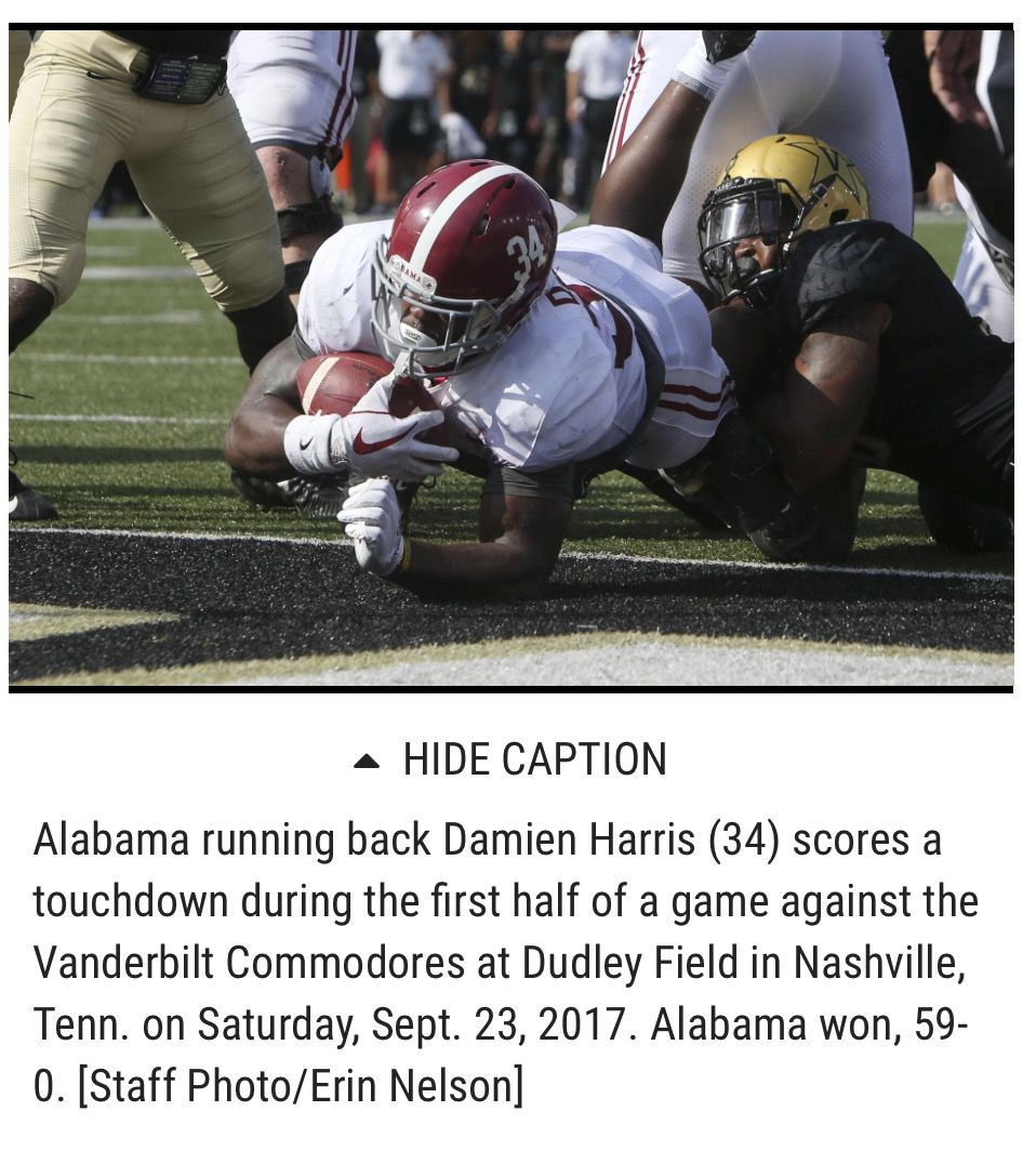 Damien Harris With 1 Of 3 Tds Vs Vandy Alabama 59 Vanderbilt 0 Alabama Rolltide Bama Builtbybama Rtr Alabama Crimson Tide Alabama Vanderbilt Commodores