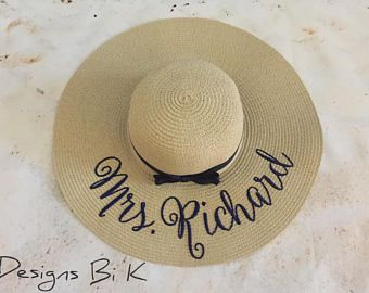 Custom embroidered Mrs floppy beach straw hat f7fe7f11018