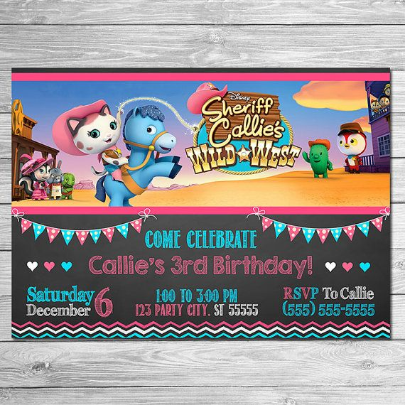 Sheriff Callie Invitation Chalkboard Sheriff Callie Birthday