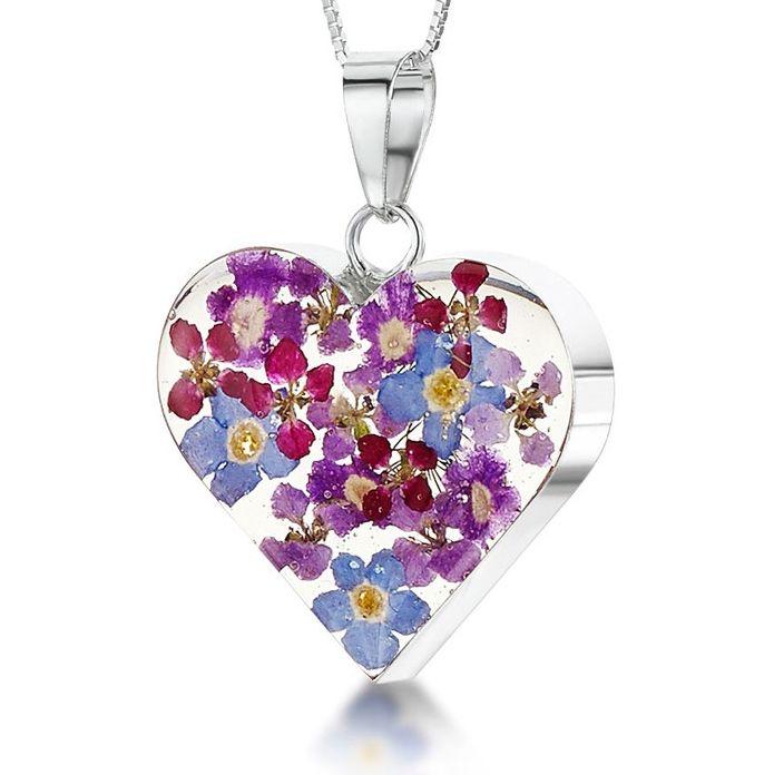Obrázok pre Strieborný prívesok Kvety Mix kvetov - Srdce stredné 9ae79fd86f2