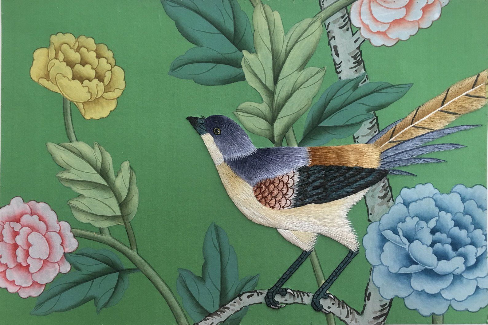 SAMPLE for Chinoiserie handpainted wallpaper on emerald