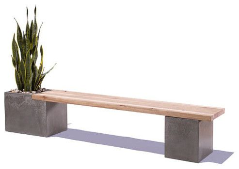 ConcreteWood Planter Bench by Tao Concrete Modern Outdoor Benches