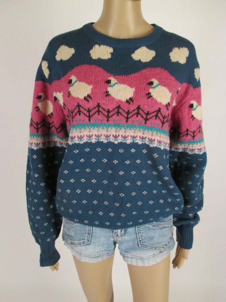 3ea39542ec1be4 Vtg 80s WOOLRICH Sheep Clouds Nordic Crewneck Wool Sweater Womens Sz M # Woolrich #Crewneck