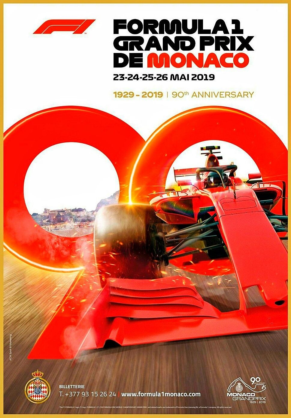 2019 Monaco Gp Official F1 Poster The 90th Anniversary Poster For The Annual Running Of Formula 1 S Premier Race Features A Golden Edged 90 Year Logo Interwov