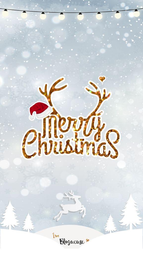 Fond D Ecran Merry Christmas Pour Iphone Ipad Et Ordinateur Motifs Neige Sapins Rennes Fond Ecran Noel Fond D Ecran Telephone Fond D Ecran Telephone Noel