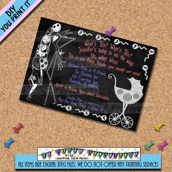 Nightmare before christmas jack sally baby shower invitation or nightmare before christmas baby shower by ezpartyprintables filmwisefo