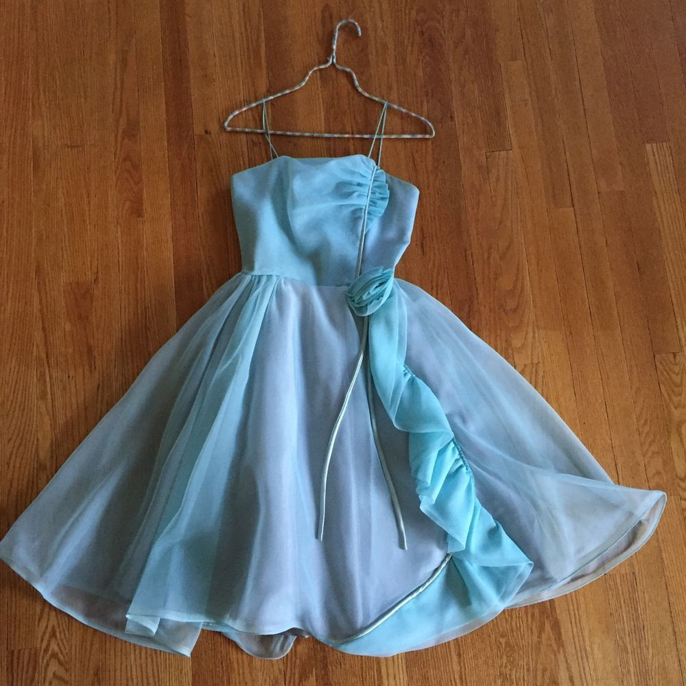 Vintage Blue Chiffon Petite Party Dress   eBay   Fashion   Pinterest ...