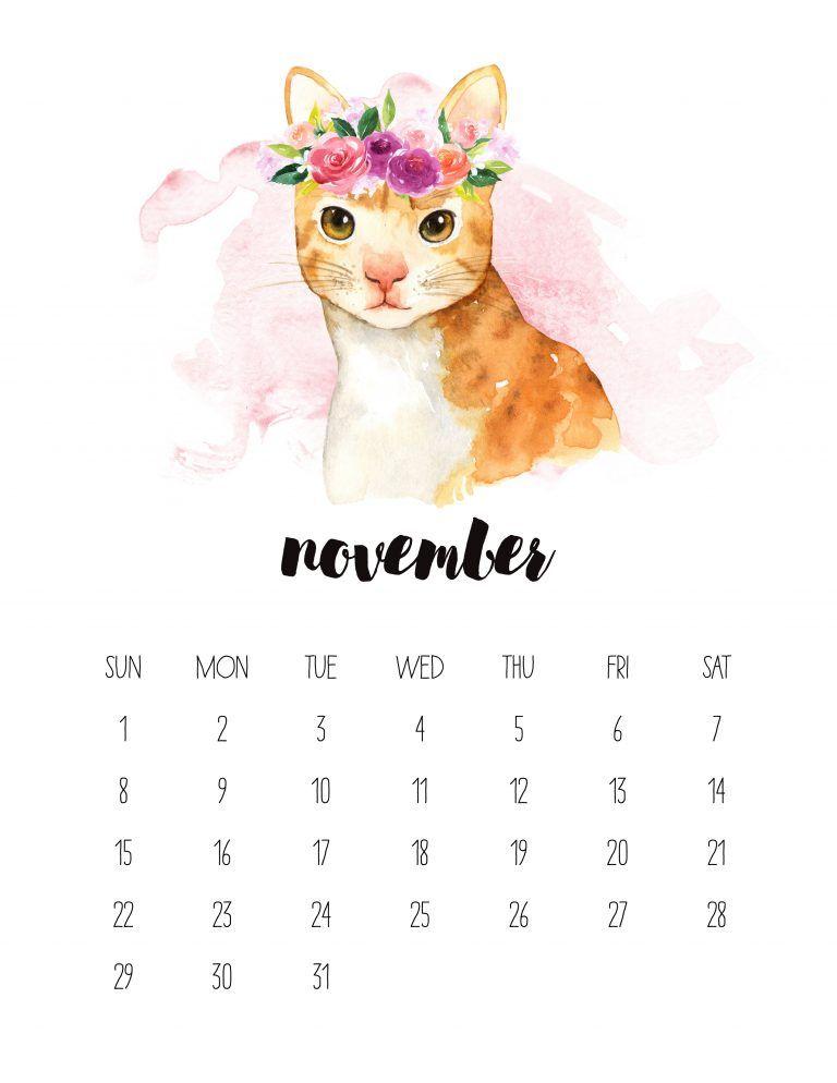 Free Printable 2020 Watercolor Animal Calendar ...