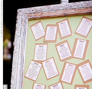 ivory and brown cardstock printed with guests names separated by table