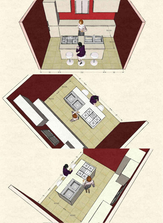 cucina con isola dimensioni nel caso di bancone piano ...
