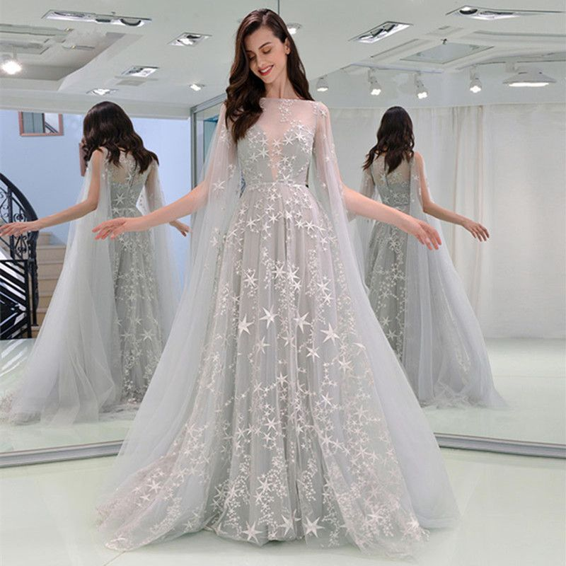 Elegant Grey Evening Dresses 2019 A-Line / Princess Square Neckline Star Lace Sleeveless Sweep Train Formal Dresses #debutideas