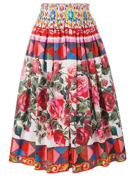 Dolce   Gabbana Saia com pregas e estampa  Mambo    saias ... 44c293864c