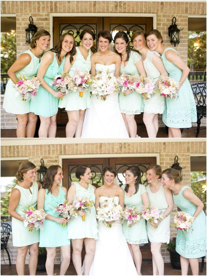 Different dresses-mint bridesmaid dresses, pastel bridesmaid bouquets, bridal party pictures, bridesmaids photos, Vintage DIY Spring Wedding | Dallas, TX » Mary Fields Photography